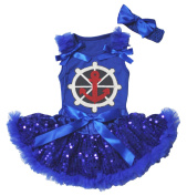 Sailor Anchor Baby Dress Royal Blue Top Sequin Baby Skirt Outfit Set 3-12m