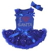 Xmas Dress I Love Santa Royal Blue Top Sequin Baby Skirt Outfit Set 3-12m