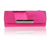 Satin Diamante Pleated Evening Clutch Bag Bridal Handbag Prom Purse