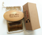 Beard Brush And Beard Comb Set Brush Made From 100% Genuine Natural Soft Boar Bristle Perfect For Use With Beard Oil Balm Wax And Pomade Comb Made From 100% Sandalwood Perfect for Beard and Moustache