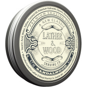 Lather & Wood Shaving Soap - Sandalwood - Simply the Best Luxury Shaving Cream - Tallow - Dense Lather with Fantastic Scent for the Worlds Best Wet Shaving Routine. 140ml
