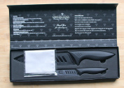 Crystal Edge Premium Ceramic Chef Knife Set - Black Knives Mirror-Finish Sheaths Gift Box. Excellent Mothers Day Gift