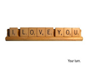 Scrabble Design I Love You Plaque on Wooden Game Tray