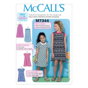 McCall's Patterns M7344 Children's/Girls' Raglan Sleeve Knit Dresses, Size CCE