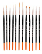 Virtuo - Pro Series 902L Detail Paint Brushes for Oil, Acrylic and Watercolours, Long Handles