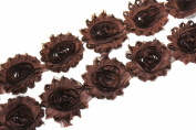 (28 pieces) JLIKA Brown Shabby Chiffon Fabric Flowers 6.4cm Shabby Rose Trim - 2 Yards