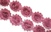 (28 pieces) Mauve JLIKA Shabby Chiffon Fabric Flowers 6.4cm Shabby Rose Trim 2 Yards