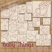 Baby Things Redwork Embroidery Machine Designs on CD - 20 Cute Patterns - 2 Sizes Each - PES JEF EXP XXX VIP HUS DST