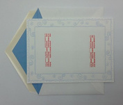 (18) William Arthur White Photo Cards with Blue Scrolls - Blank - 14cm x 19cm