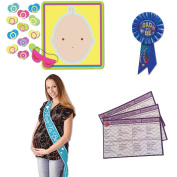 Baby Shower For Boy Party Supplies - Pin the Pacifier Baby Shower Game, Whats in Your Purse Game (25 sheets), Blue Mommy to Be Sash and Dad to Be Rosette Pin