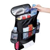 Happy Hours - Car Back Seat Heat-Preservation Organiser / Vehicle Travel Storage Bag / Multi-Pocket BackSeat Drink Cooler Case / Oxford Wrap Bottle Holder / Hanging Tissue Pouch