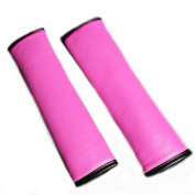 seemehappy Charming Women Hot Pink Leather Seat Belt Covers for Car