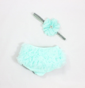 Ruffle Bloomer & Lace Flower Infant Headband Set, Newborn Baby Girl, Aqua