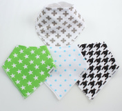 4 BayBee Bandana Drool Bibs, Neutral Pack #2, Soft Cotton w/ Snaps, Unisex, Cute Gift