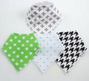 4 BayBee Bandana Drool Bibs, Neutral Pack #2, Soft Cotton w/ Snaps, Unisex, Cute Gift