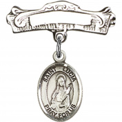 Sterling Silver Baby Badge with St. Lucia of Syracuse Charm and Arched Polished Badge Pin 2.2cm X 2.2cm