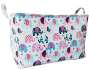 Large Canvas Storage Bin with Elephant Designs for Nursery and Kids Room