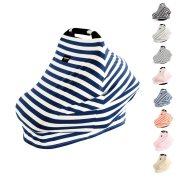 AMAZLINEN Universal Fit Multi-use Baby Car Seat Covers,Infant Car Seat Canopy,Nursing Covers,4 In 1,Stretchy Breathable 360° Coverage,Unisex Navy Blue and White Stripe