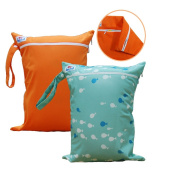 Babyfriend 2 Pieces Wet and Dry Bag Baby Cloth Nappy Nappy Bag Reusable with Two Zippered Pockets