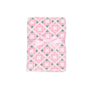 Baby Gear Plush Velboa Ultra Soft Baby Girls Blanket 30 x 40, Pink Geometric