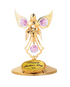 Happy Mother's Day - Angel with Flowers Table Decor..... with Pink. Element Crystals
