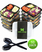 Welcos 10 Pack 3 compartment Meal Prep Food Storage Containers with Lids/Portion Control Bento Lunch Box Container Set/Dishwasher Microwave Safe Cover Plates Dividers+Bonus Cutlery