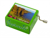 Irish Music Box With Green Shamrock Design And Cliffs Of Moher Coastline view