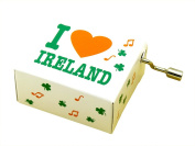 Irish Music Box With I Heart Ireland Text And Green Shamrock Design