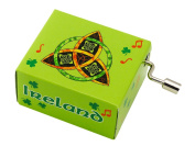 Irish Music Box With Trinity Circle Knot Design With Green Ireland Text