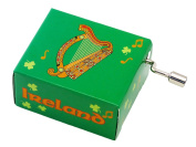 Irish Music Box With Wooden Irish Harp With Green Shamrock Design