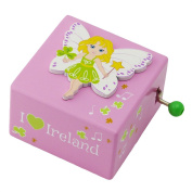 Irish Wooden Music Box With Fairy Design And I Heart Ireland Text, Pink Colour