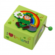 Irish Wooden Music Box With Leprechaun Design And I Heart Ireland Text, Green Colour
