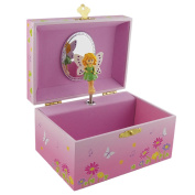 Pink Fairy Music Jewellery Box Designed With Flowers and Butterflies