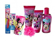 Dinsey Jr. Minnie Mouse Bow-Tique 7pc. All Inclusive Girls Bathroom Beauty Collection! Includes Body Wash, Body Lotion, Bubble Bath & Cleansing Bath Puff! Plus Bonus Bright Smile Oral Hygiene Set!