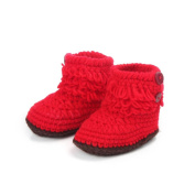 Fulltime(TM) 3-12 Months Baby Girls Crochet Handmade Knit High-top Tall Boots Shoes
