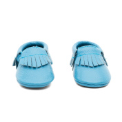 Mac and Lou Baby Gladiator Toddler Soft Sole Leather Moccasins Blue