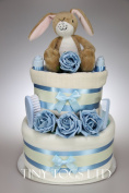 Baby Boy or Girl Two Tier Nappy Cake with Guess How Much I Love You Nutbrown Hare Baby Shower Gift