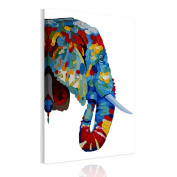 UNIQUEBELLA Ready to hang canvas pictures, abstract Colours Elephant painting printed on Canvas mounted, Poster print painting mounted For Wall Art Home Decoration 50cm x 80cm