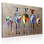UNIQUEBELLA Ready to hang canvas pictures, Colours abstract Cool zebras painting printed on Canvas STRETCHED And mounted, Print painting mounted For Wall Art Home Decoration, 40cm x 60cm