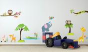 Jungle adventure wall decor sticker baby bedroom safari animal wall art mural nursery decoration peel & stick