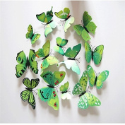 24PCS 3D Green Butterfly Sticker Fridge Magnets Room Wall Decoration