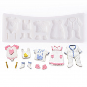 Musuntas 11 hole baby clothes Silicone Cookie Cutter Fondant Cake Decoration Baptism