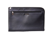 Real Leather A4 Document Folder Folio Conference Zip Folder Case DOC Black