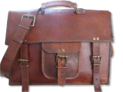 Krish Men's Genuine Vintage Brown Leather Messenger Bag Shoulder Laptop Bag Briefcase