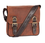 Genuine Leather Shoulder Cross Body Satchel Style Work Travel Bag HOL12 Tan