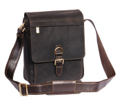 Real Leather Shoulder Cross Body Organiser Work iPad Tablet Bag HOL11 Brown