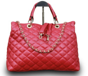 Luxury Women's Handbag Hobo Clutch Party Bag Quilted Faux Leather Red