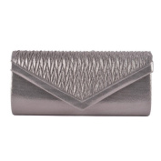 Womens Ladies Diamante Ruched Fold Over Flap Prom Party Evening Dressy Occasion Hand Clutch Bag - T70