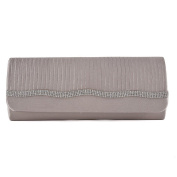 Womens Ladies Diamante Satin Pleated Prom Party Evening Dressy Occasion Hand Clutch Bag - T57