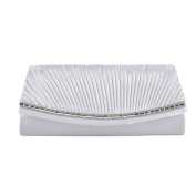 Womens Ladies Diamante Satin Pleated Prom Party Evening Dressy Occasion Hand Clutch Bag - T55